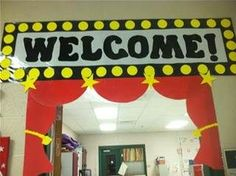 Hollywood theme classroom with a red carpet rolled out on the first day.