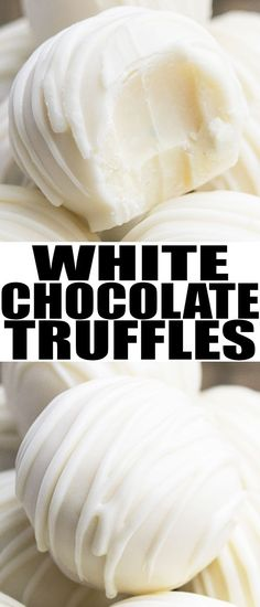 Easy white chocolate truffles recipe, made with simple ingredients. These rich a… Easy white chocolate truffles recipe, made with simple ingredients. These rich and creamy homemade truffles can be modified with many flavors and toppings. Homemade Truffles, Homemade Candies, White Chocolate Truffles, Brigadeiro Chocolate, Cake Chocolate, White Chocolate Desserts, White Desserts, Chocolate Truffle Recipe, Easy Truffle Recipe