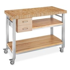 Williams-Sonoma Williams Sonoma John Boos End-Grain Butcher Block Culinary Cart, 48 Ikea Kitchen Cart, Kitchen Utility Cart, Kitchen Trolley, Kitchen Island Cart, Rustic Kitchen Island, Kitchen Ideas, Kitchen Rack, Kitchen Updates, Prep Kitchen