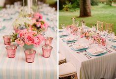 Decoração de casamento azul e rosa.... mto fofa!