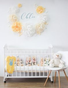 White Yellow & Beige paper flowers for nursery wall decor - Nursery paper flowers - Girl room paper flowers - Over the Crib Paper Flower Set