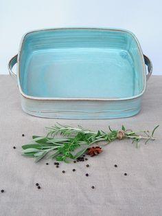 large baking dish, ceramic baking dish, turquoise baking pan, lasagna dish, wedding gift ideas by FreshPottery on Etsy