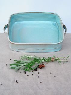 large baking dish, ceramic baking dish, turquoise baking pan, lasagna dish, wedding gift ideas by FreshPottery on Etsy