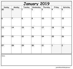 January 2019 Calendar Free Printable January 2019 Printable