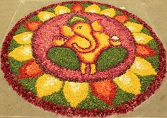 Presenting here the beautiful collection of Ganesh Chaturthi Rangoli designs you can opt this year. Ganesh Chaturthi, the most popular . Indian Rangoli Designs, Rangoli Designs Flower, Rangoli Patterns, Rangoli Ideas, Rangoli Designs With Dots, Rangoli Designs Images, Flower Rangoli, Beautiful Rangoli Designs, Ganesha Rangoli