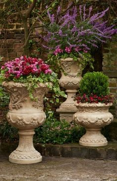 All the romance and history of a Provencal garden, captured here in our gorgeously detailed urn collection Garden Urns, Lawn And Garden, Garden Sheds, Indoor Garden, Container Plants, Container Gardening, Magic Garden, Pot Jardin, Vintage Garden Decor