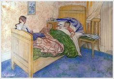 "1908 год. Carl Larsson (Swedish, 1853 – 1919) «In Mum""s Bed»"