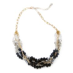 Swift Singles Challenge- nYour night just got better with the Stephanie necklace: black, gray and clear rondel crystal beads on twisted gold chains come together as an elaborate choker. Love this! Found it on the bohemian trunk