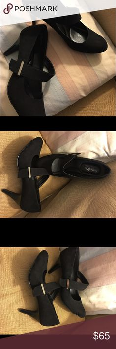 Coach and four Beautiful suede coach and four buckled heels in like new condition worn only once and found to be a little too big for me Coach Shoes Heels