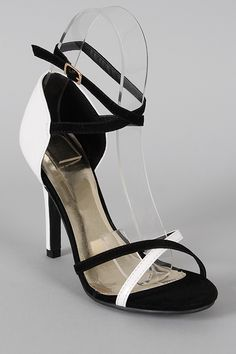 Talena-01 Two Tone Criss Cross Open Toe Heel