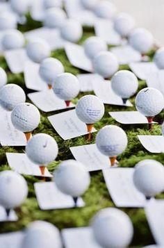 A fun idea for a summer wedding between 2 golfers! *grin* Golf Ball place cards #AllAboutGolfAndGolfThings!