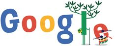 FIFA World Cup 2014- Google Doodle #2 celebrates Brazil's win after opening ceremony on 12/06/2014 night with dancing tree and drum.