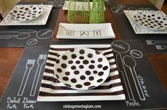 DIY Dollar Store Place Settings - stripes, polka dots, chalkboard placemats, trays