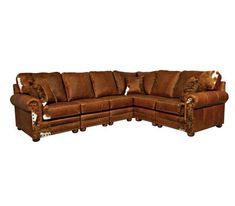 Hinsdale 3 pc. Western Leather Sectional Weston Pecan Best Leather Sofa, Leather Sectional, Sectional Sofa, Style Lounge, Couch Set, Rustic Colors, Furniture Styles, Sofa Design