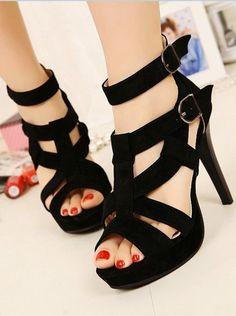 23616992cfe fashon shoes high heels Black Strappy Heels