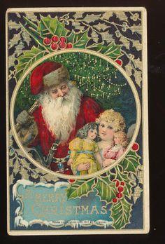 Wonderful ~old  SANTA Claus with Little girl,dolls Holly German postcard-ooo534 #Christmas