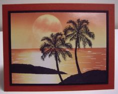 handmade card by Loll ... tropical isle sunset scene ... advanced brayering techniques and silhouette palms ... beautiful!