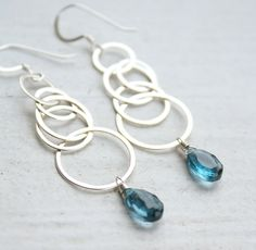 London Blue Topaz Earrings - Long Earrings - Sterling Silver, Navy Blue. $60.00, via Etsy.