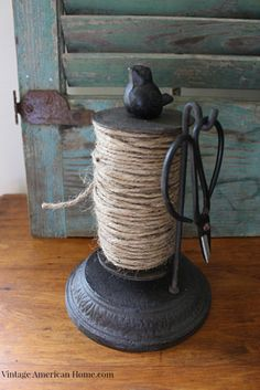 Rustic Twine Holder w/ sharp Scissors - Vintage American Home