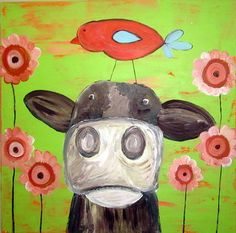 Whimsical cow painting with bird on head24 by sunshinegirldesigns, $200.00