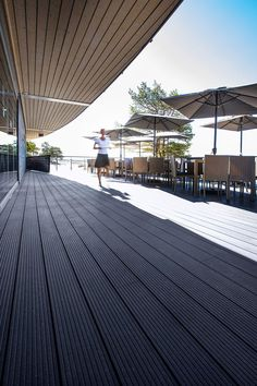Long-lasting and low-maintenance WPC decking boards from UPM ProFi are suitable also for public spaces. Wpc Decking, Composite Decking, Decking Boards, Outdoor Furniture, Outdoor Decor, Public Spaces, Restaurants, Hotels, Design