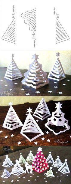 8 схем для создания очаровательных 3D-елочек из бумаги