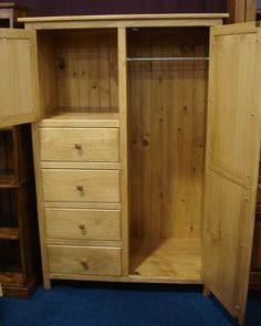 Perfect Amish Pine Wood Wardrobe Armoire
