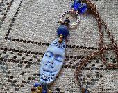 Una vez en una luna collar azul - Cerámica - Bohemia - Natural - Artesanal - hecho a mano - Cobre - Diseños Moobie Grace