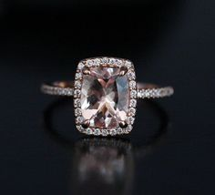 ❤️Morganite Diamond Halo Engagement Ring in 14k Rose Gold, Morganite Cushion 9x7mm and Diamond Ring (Also available in 18k Gold) by Twoperidotbirds on Etsy https://www.etsy.com/listing/227377901/morganite-diamond-halo-engagement-ring