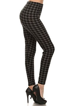 Leggings Depot Womens Popular Essential Charcoal Houndstooth Printed Leggings N295OS >>> Learn more by visiting the image link. (Note:Amazon affiliate link)