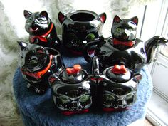 Rare Mid Century Shafford Black Cat Tea Service by philsoldstuff