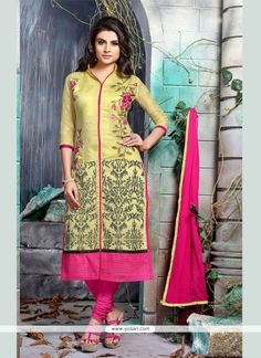 Delightful Embroidered Work Yellow Churidar Designer Suit Model: YOS6846