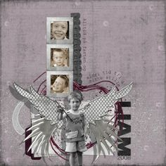 My nephew, Liam. Always on the run never time to sit still. Here I used Romeo and Juliet by Viva Artistry. And I`ve recolored to black a overlay from Destroid by Glitter by Viva Artistry. This page was inspired by a template by Duchess Designs.