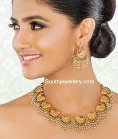 Swan Design Guttapusalu Necklace and Earrings