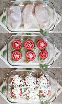 This easy dinner only has 4 ingredients and takes minutes to put together. Perfect for busy week nights. Italian Chicken Bake This easy dinner only has 4 ingredients and takes minutes to put together. Perfect for busy week nights. I Love Food, Good Food, Yummy Food, Yummy Yummy, Italian Baked Chicken, Baked Pesto Chicken, Chicken Pesto Recipes, Tomato Pesto Chicken, Pesto Mozzarella Chicken