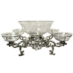Gorham, Sterling Silver 5 Bowl Epergne | From a unique collection of vintage centerpieces and tazzas at https://www.1stdibs.com/jewelry/silver-flatware-silverplate/centerpieces-tazzas/