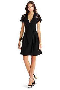 DVF Elizabeth Lace Wrap Dress in in Black