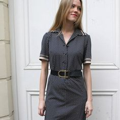 Vintage Check Print Shirt Dress