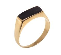 Gold Signet Ring, Narrow rectangle ring inlaid with colorful enamel, Narrow rectangle ring inlaid with colorful enamel