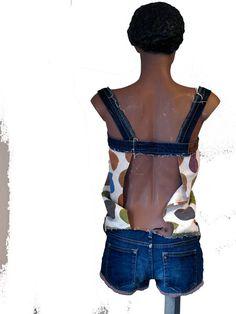 short summer jumpsuit of recycled jeans van pepavana op Etsy, €79.00