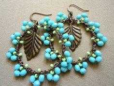 Aqua Beaded Earrings Lime Green Copper Hoops - Mandii