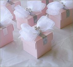 Girl's Pink Baptism, Communion Silver Cross And Bow Favor Box, Candy Holder on Etsy, $96.00