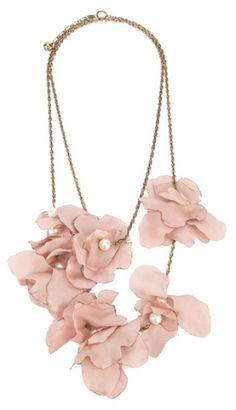 Lanvin Pink Silk Flower Necklace