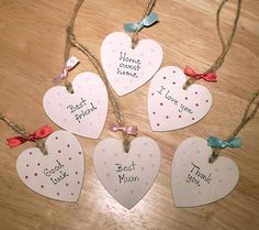 Shabby chic hand painted Personalised Wooden Heart,door sign,gift tag,keepsake £1.60