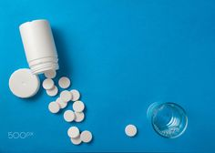 Pills on blue
