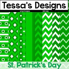 "Looking for digital papers to spice up your St. Patrick's Day themed products?  This set of 8 digital papers feature various shades of green and white in chevron and other prints.  Each paper is 8.5""x11"" for ease of product creation.All images are saved at 300 dpi for the highest quality.All of my products can be used for personal or commercial use with no additional license, however, please be sure to read my included Terms of Use file for how to appropriately give credit.You might also be…"