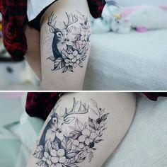 : Healed Deer 사슴 발색 + 완성 . . #tattooistbanul #tattoo #tattooing #deertattoo #deer #drawing #sketch #tattooartist #tattooart #타투이스트바늘 #타투 #스케치 #사슴타투 #사슴