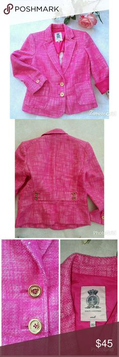 Juicy Couture pink Jacket Juicy Couture Gorgeous Hot Pink Tweed Jacket with Gold Buttons Notched collar and patch pockets. Size Small 97% Cotton 13% Linen Excellent Condition Only Worn once!! Juicy Couture Jackets & Coats Blazers