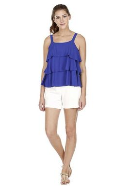 This fun tiered top in royal blue has a chiffon feel, and looks great with pants or shorts! Tiered Tops, Tunics, Royal Blue, Ruffles, Looks Great, The Selection, Chiffon, Rompers, Shorts