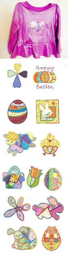 Easter Patchwork Applique design set is available for instant download at designsbyjuju.com